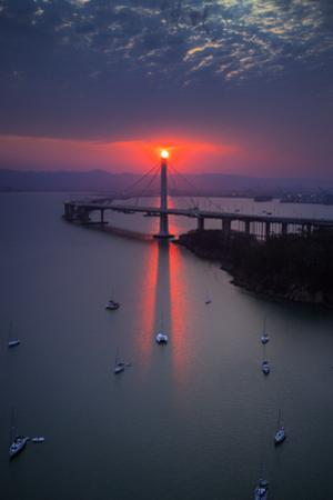 The Eye - Dreamy Sunrise Alignment East Bay Boat Harbor Bridge Oakland Bay Area by Vincent James