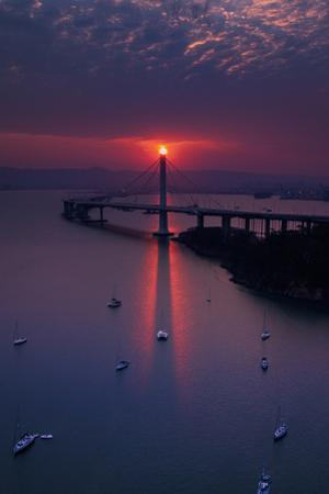 The Eye - Mystical Alignment East Bay Bridge Boat Harbor Oakland Bay Area by Vincent James