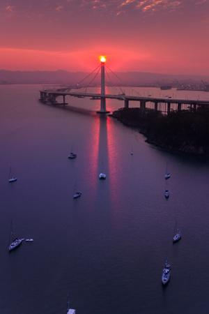 The Eye - Sunrise Drama East Bay Bridge Boat Harbor Oakland Bay Area by Vincent James