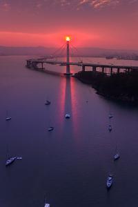 The Eye - Sunrise Drama East Bay Bridge Boat Harbor Oakland Bay Area by Vincent James