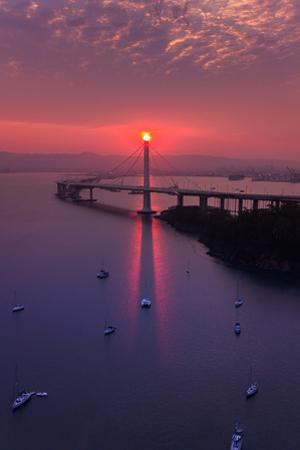 The Eye - Sunrise Magic East Bay Bridge Boat Harbor Oakland Bay Area by Vincent James