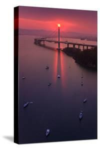 The Eye - Sunrise Mood East Bay Bridge Boat Harbor Oakland Bay Area by Vincent James
