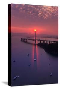 The Eye - Sunrise Special East Bay Bridge Boat Harbor Oakland Bay Area by Vincent James