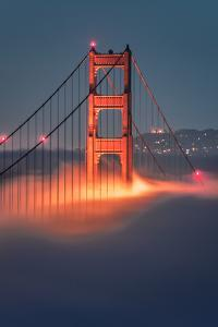 Tower Fog Night Lights Golden Gate Bridge, San Francisco California Travel by Vincent James