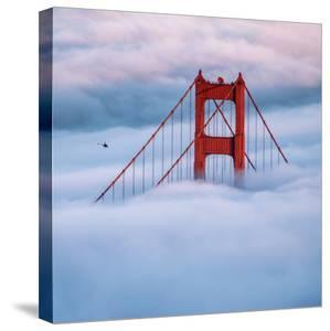 Tower & Helicopter Above the Fog Golden gate San Francisco by Vincent James