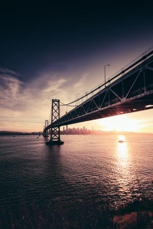Under Bay Bridge Bay Sunset With Sun Star San Francisco Bay Area by Vincent James
