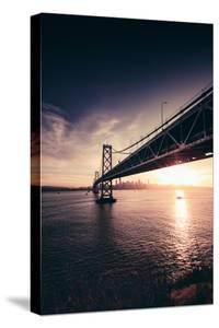 Under Bay Bridge Bay Sunset With Sun Star San Francisco Bay Area by Vincent James