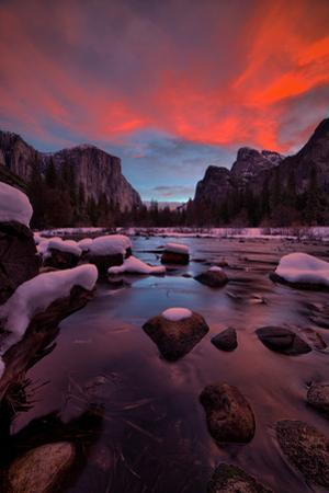 Valley View Sunset and The Red Veil, Yosemite National Park by Vincent James