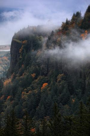 Vista House in Autumn Fog Mist Columbia River Gorge Oregon by Vincent James