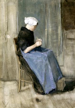 A Young Scheveningen Woman Knitting