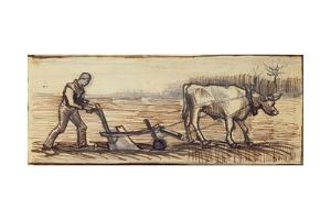 At the Plough, from a Series of Four Drawings Representing the Four Seasons by Vincent van Gogh