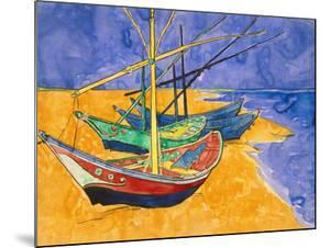 Boats on the Beach of Les-Saintes-Maries, 1888 by Vincent van Gogh