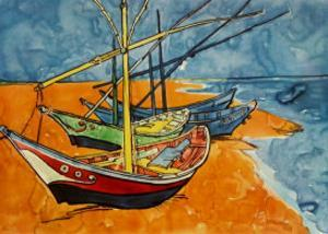 Boats by Vincent van Gogh