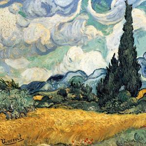 Champ de blé avec cypres (Détail) by Vincent van Gogh