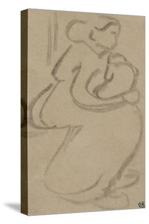 Croquis rapide d'une femme assise, tenant son enfant