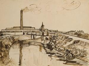 Factory and Laundresses at La Roubine Du Roi by Vincent van Gogh