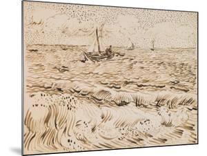 Fishing Boats at Saintes-Maries-De-La-Mer, 1888 (Pen and Ink and Pencil on Paper) by Vincent van Gogh