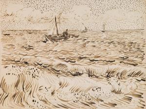 Fishing Boats at Saintes-Maries-De-La-Mer, 1888 (Pen and Ink and Pencil on Paper) by Vincent van Gogh