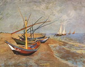 Fishing Boats on the Beach at Saints-Maries, c.1888 by Vincent van Gogh