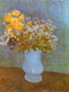 Flowers in Blue Vase, 1887 by Vincent van Gogh