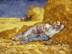 La Méridienne Ou La Sieste, Siesta at Noon, after 1866 Pastel Drawing by Millet, 1890 by Vincent van Gogh