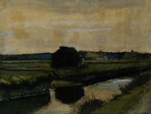 Landscape with a Stack of Peat and Farmhouses by Vincent van Gogh