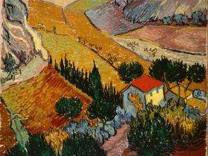 Landscape with House and Ploughman, 1889 by Vincent van Gogh
