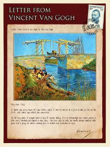 Letter from Vincent: Langlois Bridge at Arles with Women Washing by Vincent van Gogh