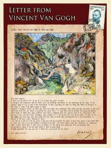 Letter from Vincent: Les Peiroulets Ravine by Vincent van Gogh
