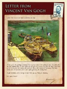 Letter from Vincent: Quay with Men Unloading Sand Barges by Vincent van Gogh