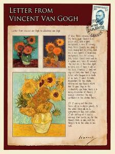 Letter from Vincent: Sunflowers in a Vase by Vincent van Gogh