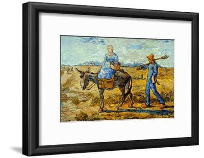 Morning with Farmer and Pitchfork; His Wife Riding a Donkey and Carrying a Basket