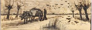 Ox-Cart in the Snow, from a Series of Four Drawings Representing the Four Seasons by Vincent van Gogh
