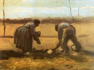 Peasant and Peasant Woman Planting Potatoes, 1885 by Vincent van Gogh