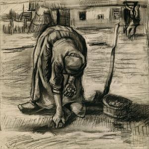 Peasant Woman Planting Potatoes by Vincent van Gogh
