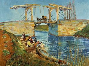 Pont de l'Anglois at Arles with Washer- Women, March 1888 by Vincent van Gogh