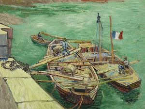 Rhonebarken, (Les Bateaux Amarrés), 1888 by Vincent van Gogh