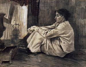 Sien with Cigar Sitting on the Floor Near Stove by Vincent van Gogh