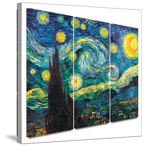 Starry Night 3 piece gallery-wrapped canvas by Vincent van Gogh