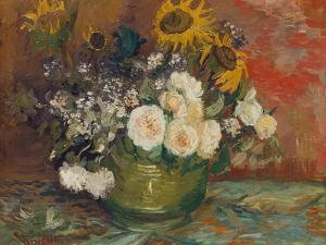 Sunflowers, Roses and Other Flowers in a Bowl, 1886 by Vincent van Gogh