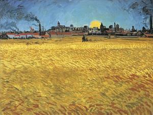 Sunset: Wheat Fields Near Arles, 1888 by Vincent van Gogh