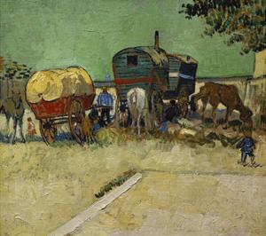 The Caravans, Gypsy Encampment Near Arles, 1888 by Vincent van Gogh