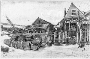 The Fish Drying Barn at Scheveningen, c.1882 by Vincent van Gogh