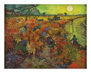 The Red Vineyard Red Vineyard at Arles - Montmajour by Vincent Van Gogh