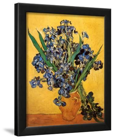 Vase of Irises Against a Yellow Background, c.1890