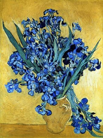 Vase of Irises Against a Yellow Background, c.1890