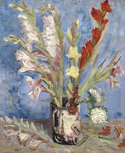 Vase with Gladioli and China Asters by Vincent van Gogh
