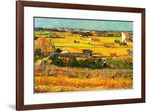 Vincent van Gogh Harvest at La Crau with Montmajour in the Background by Vincent van Gogh
