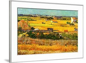 Vincent van Gogh Harvest at La Crau with Montmajour in the Background by Vincent van Gogh