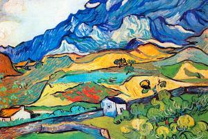 Vincent Van Gogh Les Alpilles a Mountain Landscape near Saint-Remy by Vincent van Gogh